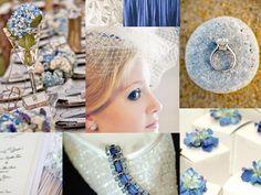 CORNFLOWER BLUE BRIDE : PANTONE WEDDING Styleboard : The Dessy Group.  Colours: Windsor Blue, Ivory, Cornflower.