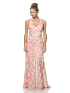 Halter Lace Bridesmaid Dresses with Scallop Edge