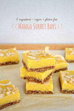 This is a refreshing summer treat that's 100% wholesome and healthy. Vegan Mango Sorbet Bars with toasted coconut, fragrant macadamia nuts, and juicy mango.
