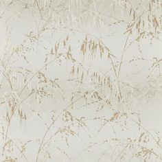 Meadow Grass wallpaper - paper / gold Clarissa Hulse luxury designer fabrics & more with colourful botanical designs. Wallpaper Samples, Fabric Wallpaper, Grey Curtains, Living Room Kitchen, Fabric Design, Grass, Colours, Display, Prints