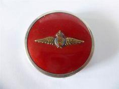 Stylish RAF Royal Air Force Red Foiled Chrome Powder Compact / Pill Box c1940 s