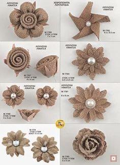 Twine Flowers, Shabby Flowers, Diy Flowers, Flower Diy, Origami Flowers, Bridal Flowers, Flower Making, Burlap Flowers, Fabric Flowers