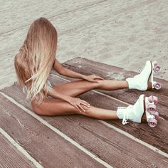 #Beachy blonde with roller skates