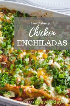 When you first learn of the low FODMAP diet and you see that onions and garlic and beans are a big no-no your dreams of Mexican inspired meals might seem to be hanging by a thread. And yet check out this plate of Chicken Enchiladas. Dieta Fodmap, Fodmap Diet, Low Fodmap, Fodmap Foods, Fodmap Recipes, Diet Recipes, Chicken Recipes, Healthy Recipes, Potato Recipes