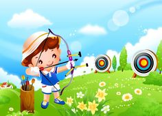 The second series of Children's Games 813 - Cartoon Vector - Vector Vector Graphics, Vector Free, Archery Girl, Kids Wallpaper, Cartoon Kids, Drawing For Kids, Photos, Pictures, Sports