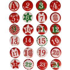 Pin & # s - Red & White Advent Calendar Figures - CTop Calendar Numbers, Calendar Stickers, Countdown Calendar, Kids Calendar, Free Christmas Gifts, Christmas Love, Christmas Crafts, Christmas Decorations, Christmas Calendar