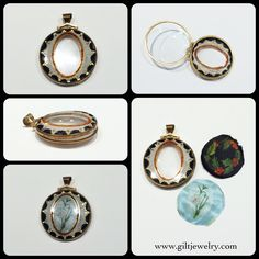 This wonderfully reverse-painted, c1890 locket comes with painted silk inserts. $195. Call to purchase. #giltjewelry