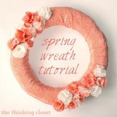 Super cute spring wreath tutorial! ~ The Thinking Closet via www.oneshetwoshe.com #spring #wreath #crafts