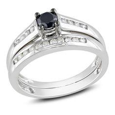 1/2 CT. T.W. Enhanced Black and White Diamond Bridal Set in 10K White Gold