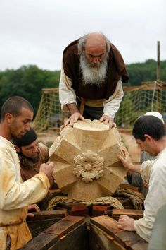 "Guédelon In addition to using medieval construction techniques, materials and tools, Guyot insisted on period costumes, diet and lifestyle adopted by the builders and craftsmen as well as a ""horses-only"" policy used for transportation around the site.  He works with a team of over 50 people committed to these old near-extinct trades, including quarrymen, stonemasons, woodcutters, carpenters, blacksmiths, tile makers, basket makers, rope makers, carters (and horses), all working together year…"