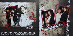 Wedding Scrapbook Page - The First Dance- Disney Princess and Prince 2 page wedding layout with a piano keyboard - from Wedding Album 1