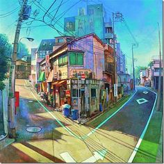 point perspective) By Hashimoto Reina. Resources for 2 point perspective cityscape. Bg Design, Perspective Art, 2 Point Perspective Drawing, Animation Background, Anime Scenery, Environment Design, Environmental Art, Light Painting, Oeuvre D'art