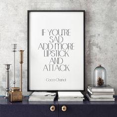 Lipstick Coco Chanel Quote Black And White Home by ParisStore