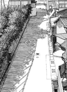 This sketch was effectively rendered using scribbling, hatching and cross hatching to illustrate the tone, form and texture. Ink Illustrations, Manga Illustration, Cityscape Drawing, Environment Sketch, Beaux Couples, Manga Drawing Tutorials, Background Drawing, Ligne Claire, Interior Sketch