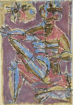 Moshe Tamir - Musician (1950s), Oil on paper, 70.5x49.5 cm