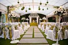 Decoración de boda verde y blanco - matrimonio