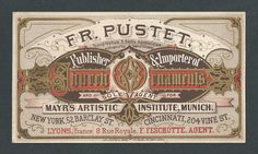 Fr. Pustet - Publisher & Importer - Church Ornaments - 1870's - Trade Card