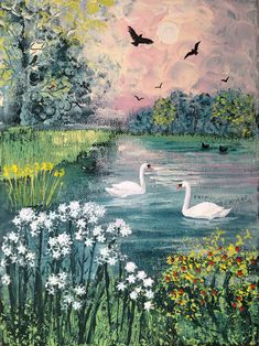 Swan Lake - Mixed media on a 7 x 9.5 inch canvas. Comes sealed varnished and ready to hang. Comes with certificate of authenticity. £75 which includes free UK post by special delivery. Comment under the picture if you would like to purchase or for more information.