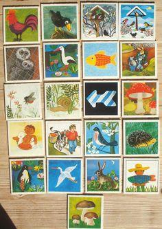 Vintage memory kaarten, 21 stuks, 1981, 5,5 x 5,5 cm, Ravensburger, karton, hobbymateriaal  [e] by LabelsAndMore on Etsy