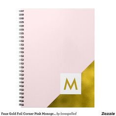 Faux Gold Foil Corner Pink Monogram Spiral Notebook