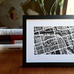 Hand cut paper map of The Junction in Toronto, ON Cut Paper, Paper Cutting, Toronto, Maps, My Etsy Shop, Frame, Papercutting, Cut Outs, Cards