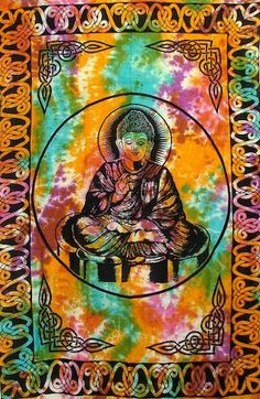 Tie-Dye Lord Buddha Tapestry, 72 in. x 108 in., SKU: 004911