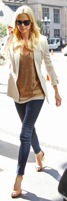 Charlize Theron does my Summer Wardrobe of White, Gold ad blue jeans.....