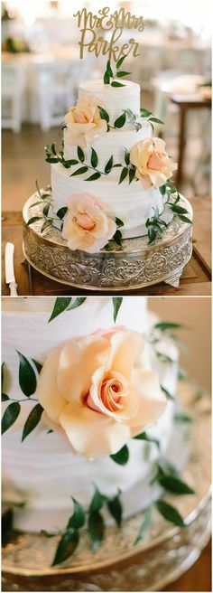 Wedding cake, peach florals, customized cut-out cake topper, leaves, three tiers // JoPhoto