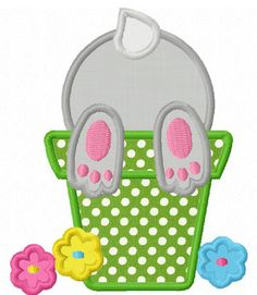 Instant Download Easter Bunny In Pot  Applique Machine Embroidery Design NO:1276. $2.99, via Etsy.