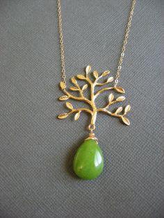 Tree branch Necklace Jade gemstone necklace Tree of by Muse411