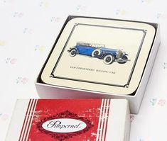 A great set of 6 Pimpernel coasters with different classic car illustrations on each one: 1931 Alfa Romeo Roadster, 1931 Rolls Royce Covertible Sedan, 1932 Stutz Phaeton, 1938 Packard Town Car, 1927 Mercedes-Benz Cabriolet, 1931 Duesenberg Touring Car. The box shows some surface wear. #mercedesclassiccars #rollsroyceclassiccars