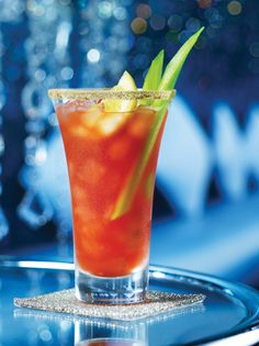 Bloody Caesar-As served at The Fairmont Banff Springs:    1¾ oz (50 ml) Finlandia vodka  8 oz (250 ml) Clamato (*or tomato juice)  3 drops Tabasco sauce  2 drops Worcestershire sauce  Lime juice (to taste)  Fresh horseradish (to taste)  Balsamic vinegar (to taste)  Salt, pepper and spices (to taste)  Lemon wedge and celery stick (garnishes)  Rim glass with celery salt     (photo and recipe-Fairmont Hotels & Resorts)