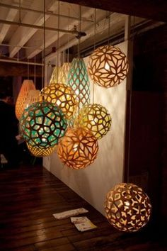 Geometric Lights - Cardboard, mod podge, balloons, and some geometric designs can create some awesome looking globes of light.