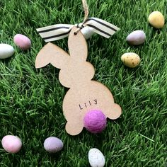 Personalised New Baby Bunny Hanging Decoration by Alphabet Bespoke Creations, the perfect gift for Explore more unique gifts in our curated marketplace. Easter Tree Decorations, Easter Decor, Easter Hunt, Beaded Garland, Wooden Crafts, Easter Crafts, Diy Gifts, New Baby Products, Felt Ball