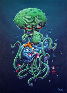 Dope Cartoons, Dope Cartoon Art, Looney Tunes Cartoons, Creepy Drawings, Art Drawings, Octopus, Pirate Ship Tattoos, Character Art, Character Design