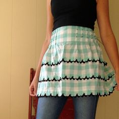 Vintage Apron..... no longer available on Etsy, but this is so cute. I love the gingham with the black trim