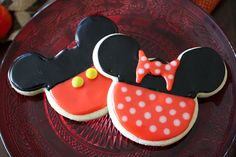 Mickey and Minnie Mouse Cookies by SweetBrittleBakingCo on Etsy