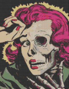 Pop Art Zombie Woman Cross Stitch Kit by SinsAndNeedles89 on Etsy, $25.00