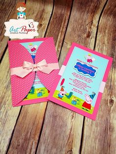25 Peppa Pig invitations personalized invitations por ArtPaperParty