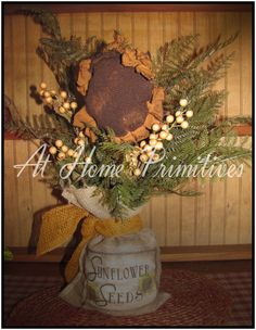 Handmade burlap sack with handmade Sunflower! By At Home Primitives Primitive Fall, Primitive Country, Primitive Crafts, Cute Crafts, Diy Crafts, Decorating Rooms, Burlap Sacks, Summer Things, Prim Decor