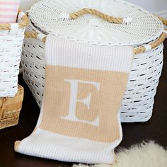 Initial and Blocks Blanket - these luxe, personalized blankets make such a great gift!