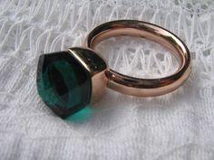 QUDO Ring Firenze * Roségold * Emerald Grün * dunkelgrün *
