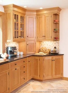 Kitchen corner cabinet styles - thinking about the little shelves on the outside. Kitchen corner c Kitchen Cabinet Door Styles, Kitchen Cabinets Pictures, Farmhouse Kitchen Cabinets, Kitchen Photos, Kitchen Cabinet Design, Kitchen Wood, Corner Cabinets, Kitchen Shelves, Kitchen Black