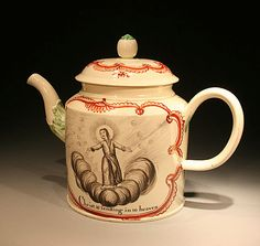 ANTIQUE 18TH CENTURY CREAMWARE POTTERY TEAPOT WITH CHRIST ASCENDING, 1777 England (1) The extra feature of this creamware teapot is the cartouche bearing the name Mathew Echers and the date 1777.