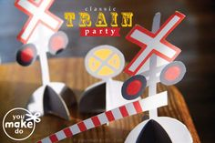 Train party printables to make train birthday party decorations: includes train cupcake toppers printables/train treat bag tags, train party cupcake wrapper printables, garland printable, train party invitation printables, train thank you card printables Trains Birthday Party, Birthday Party Celebration, 2nd Birthday Parties, Boy Birthday, Birthday Ideas, Thomas Birthday, Kid Parties, Mouse Parties, Train Party Favors