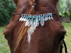Metal Feathers and Turquoise Beads Browband for by MyBuddyBling