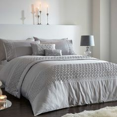 Zenia Silver Sequin Embellished Bedding Range by Kaleidoscope Silver Bedroom, Silver Sequin, Satin Fabric, Comforter Sets, Decoration, Comforters, Pillow Cases, Cushions, Blanket