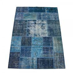 OceanBlue Overdyed Patchwork Rug, Vintage sur teint tapis