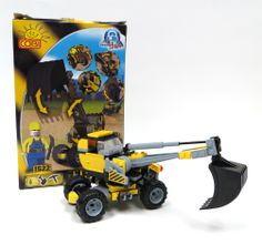 Construction Digger with Bucket and Lift Action 115 Pc Block Set by IMEX