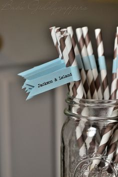 Baby Boy Shower Straws in Brown with Blue Flags. $0.75, via Etsy.